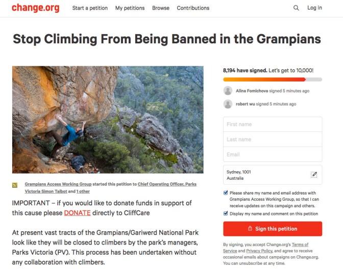 Online Petition Breaks the (Climbing) Internet