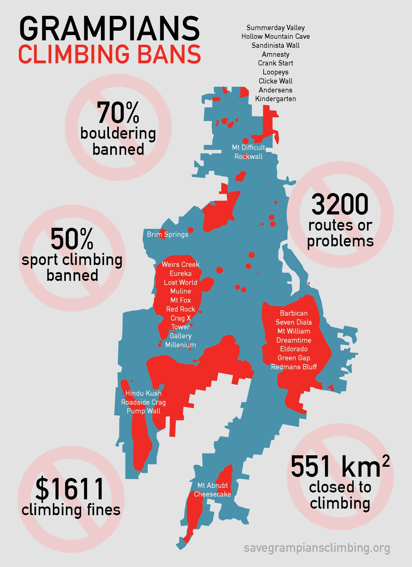Grampians Climbing ban extent