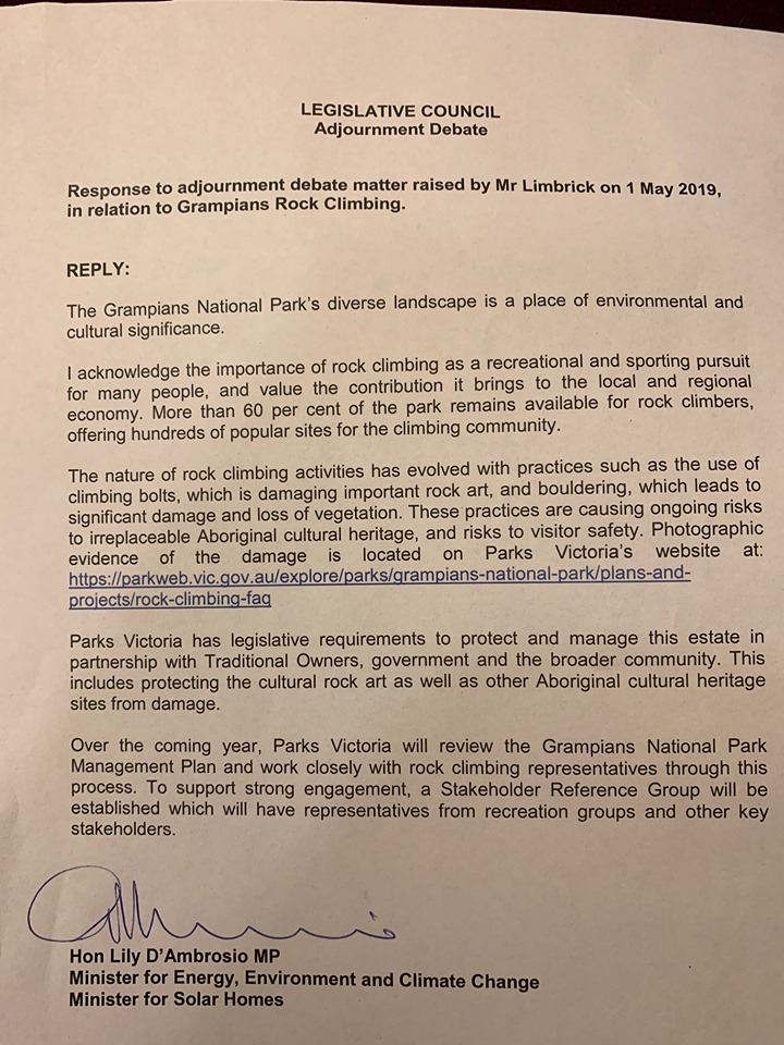 Letter to Minister Lily D'Ambrosio   Save Grampians Climbing