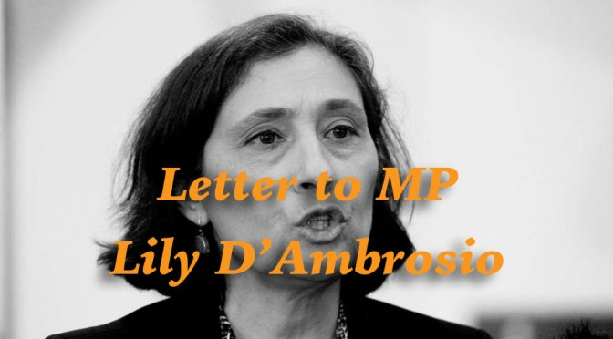 Letter to Minister Lily D'Ambrosio